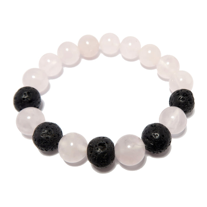 beaded rose quartz and black lava round stretch bracelet