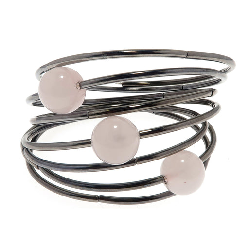 rose quartz beads on a 7 layer gunmetal memory wire bracelet