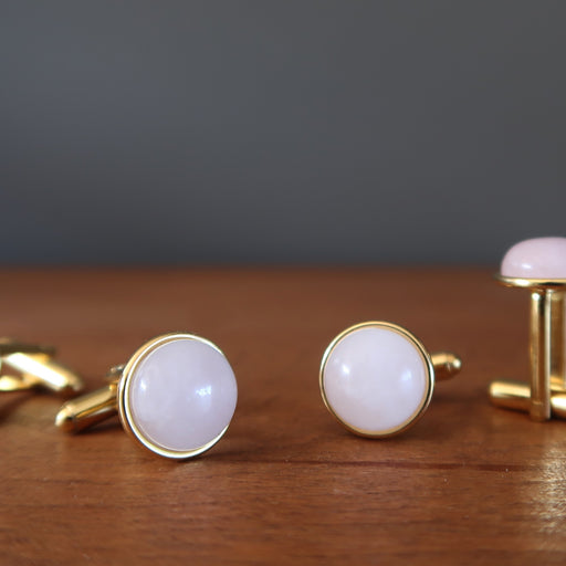 2 pairs of rose quartz gold cufflinks