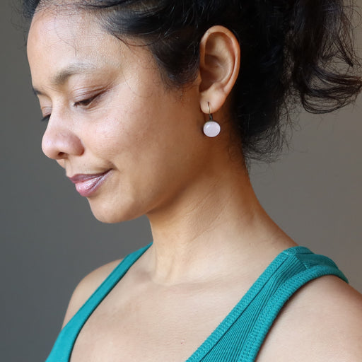 sheila of satin crystals wearing rose quartz leverback earrings