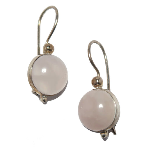 Rose Quartz Earrings Sterling Silver Pink Round Love Gemstones