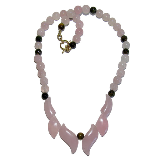 pink rose quartz flame necklace with brown tigers eye accent beads and gold toggle clasp