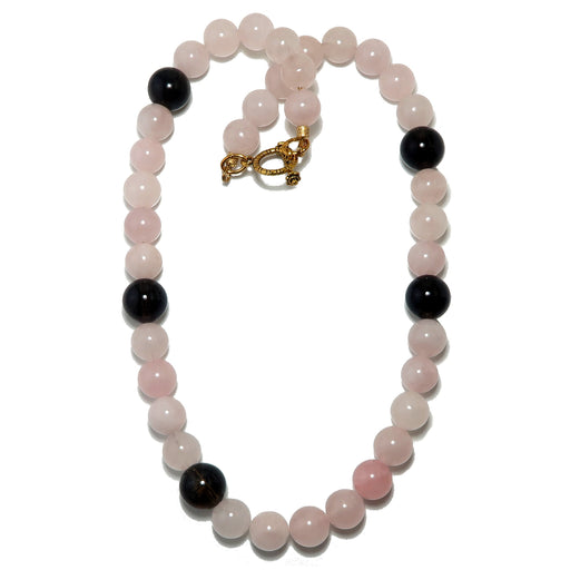 Rose Quartz Necklace Pink Round Beaded Gemstone Brown Smoky Quartz