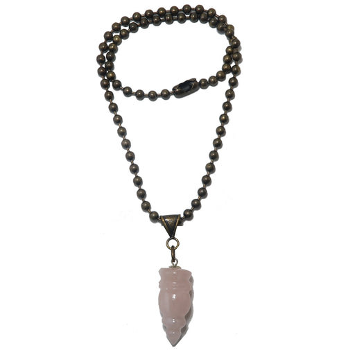 "Rose Quartz Necklace 17"" Specialty One-of-Kind Pink Carved Gemstone Point Antiqued Love S03"