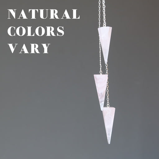 3 rose quartz pendulums showing natural colors vary