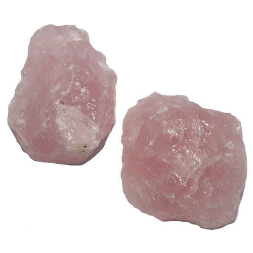 two raw chunks of pink rose quartz
