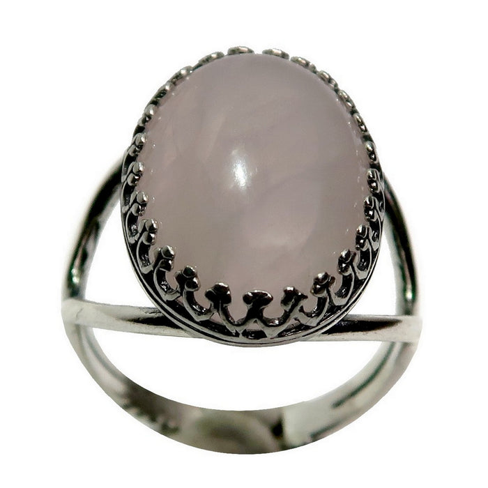 pink rose quartz oval in sterling silver adjustable ring