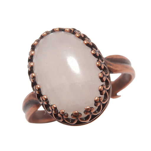 Rose Quartz Ring Antique Copper Pink Oval Gemstone (Adjustable Size 5-8)