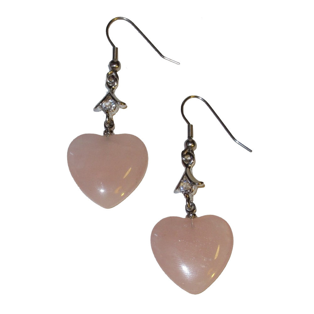 "Rose Quartz Earrings 2"" Pink Heart Crystal Healing Stones Love Energy Sparkling Gems 02"