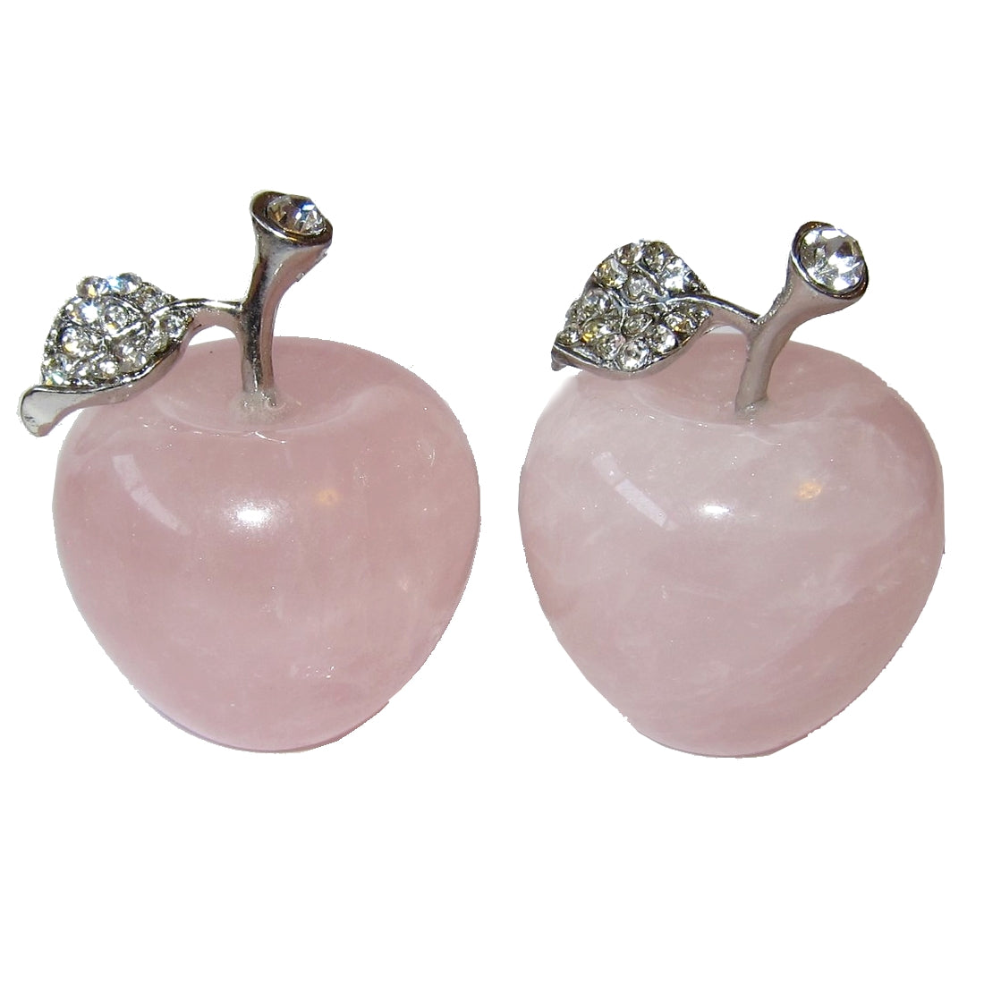 "Rose Quartz Gift Apple 1.5"" Premium Pair of Pink Stones Love Energy Gratitude Fruit P02"