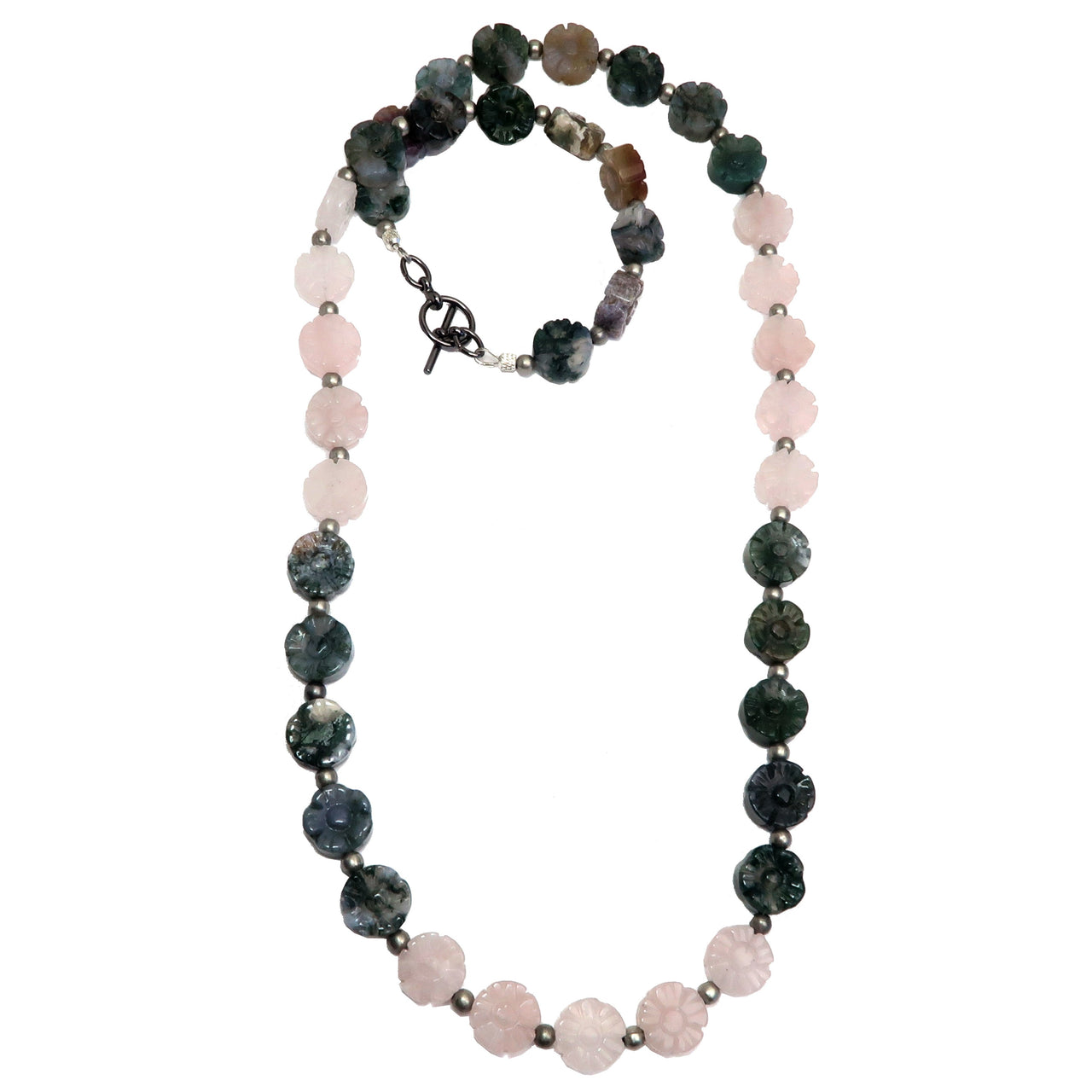 Rose Quartz Necklace Boutique Flower Pink Green Moss Agate Pretty Gemstone Carved B02