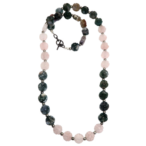 rose quartz and moss agate flower beaded necklace