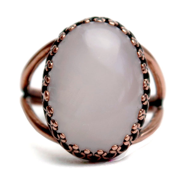 Rose Quartz Ring 6-8 Boutique Pink Oval Gemstone Adjustable Antiqued Copper B01
