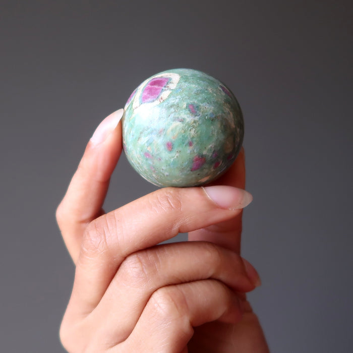 Ruby Fuchsite Sphere Crystal Healing Ball Love Romance Pink Green Stone