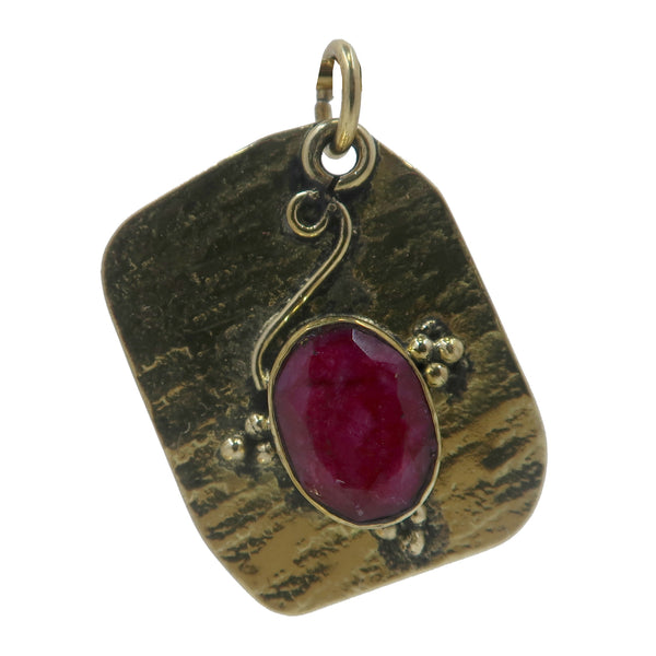Ruby Pendant Boutique Faceted Red Gemstone Textured Tibetan Metal Charm B01 (Ripple)