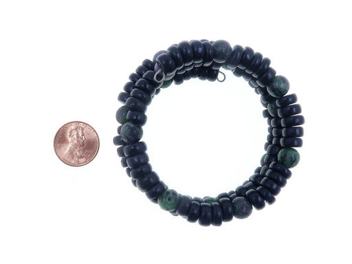 Ruby Zoisite Bracelet Boutique Memory Wire 3-Layer Coil Black Wood Green Red Stone B02