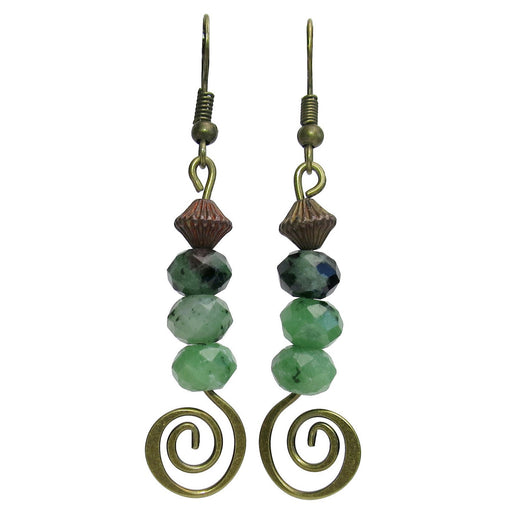 ruby zoisite faceted gemstones on antiqued brass spiral dangle earrings