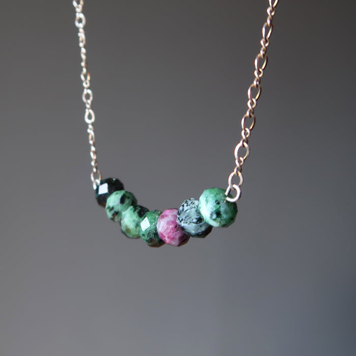 Ruby Zoisite Necklace Faceted Green Pink Love Chakra Gemstones Sterling Chain