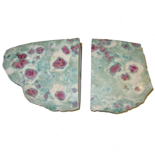 ruby fuchsite polished and rough stone pair