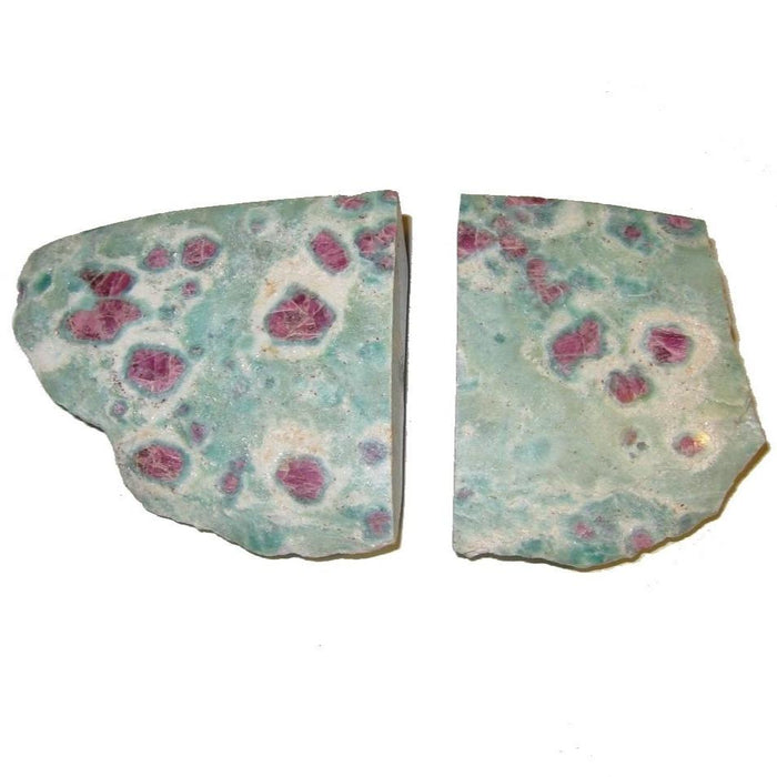 "Ruby Fuchsite Polished Stone 2.3"" Collectible Pair of Green Pink Therapy Crystal Heart Chakra Gems C02"