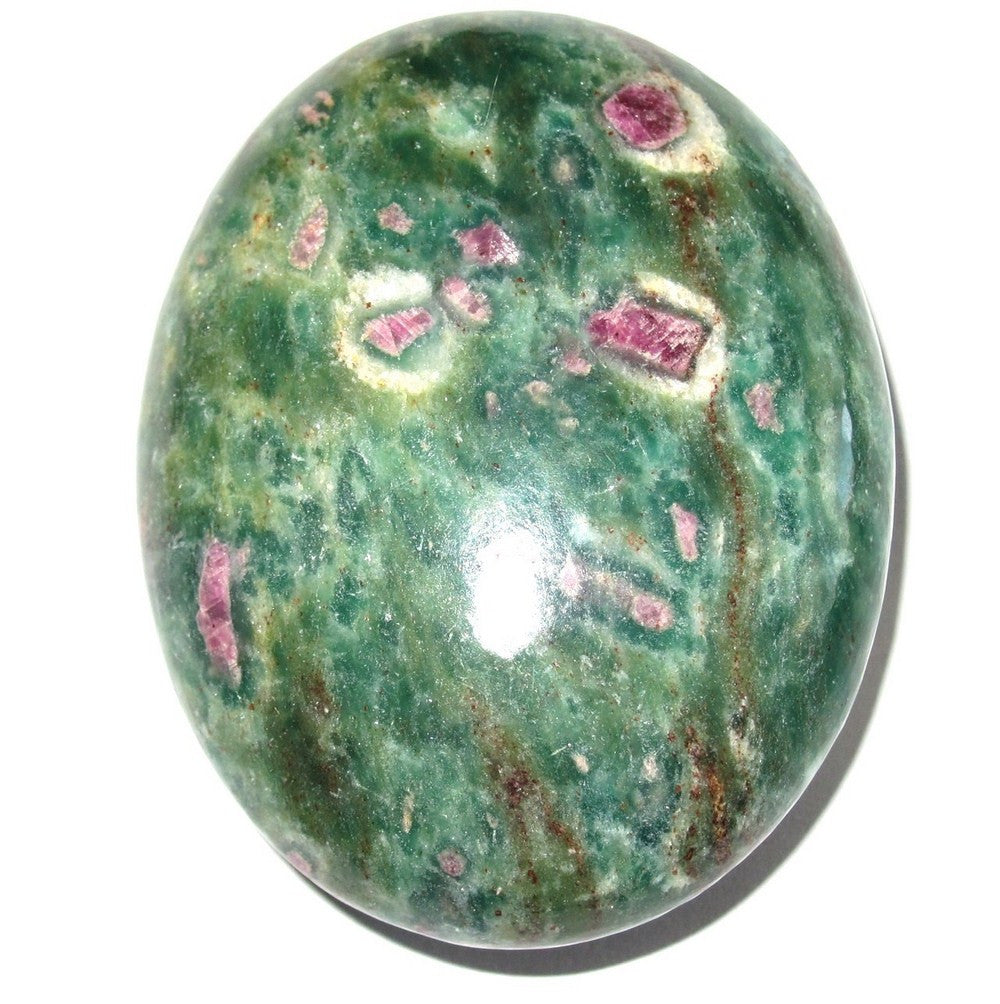 Ruby Fuchsite Polished Stone 07 Green Red Crystal Laziness Exhaustion Healing Gemstone 2.3""