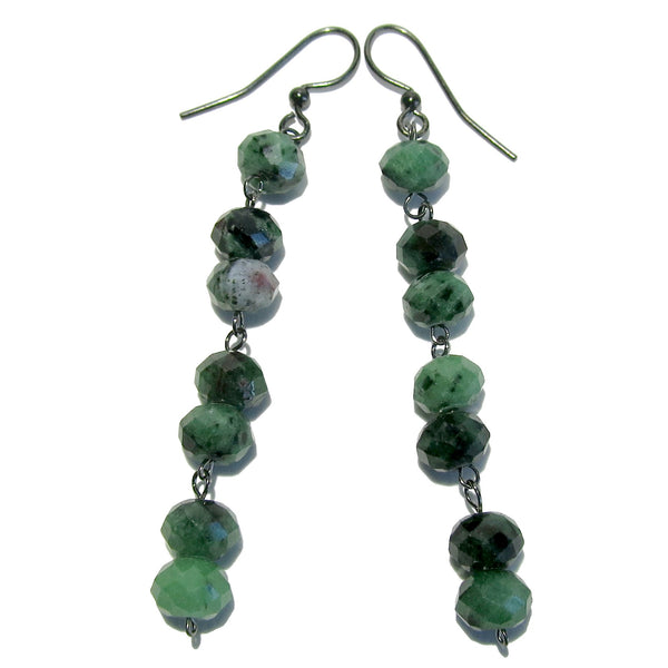 "Ruby Zoisite Earrings 3"" Boutique Faceted Green Red Genuine Gemstone Black Dangle B01"