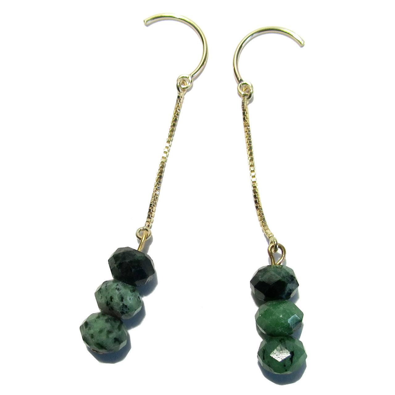 "Ruby Zoisite Earrings 2.4"" Boutique 14 Karat Gold French Hook Faceted B02"