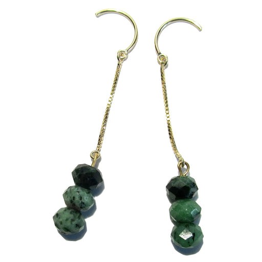 ruby zoisite faceted gemstones on gold box chain french hook earrings