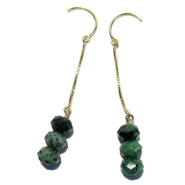 "Ruby Zoisite Earrings 2.4"" Boutique 14 Karat Gold French Hook Faceted Green Gemstone Dangle B02"