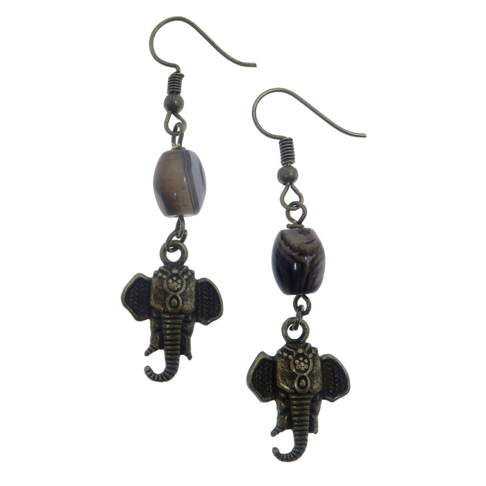 banded white and brown sardonyx wrapped with brass elephant head charm on antique brass earwires