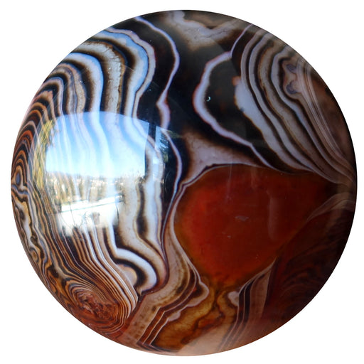 sardonyx banded black, white, brown, orange sphere
