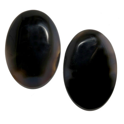 pair of black sardonyx oval stones
