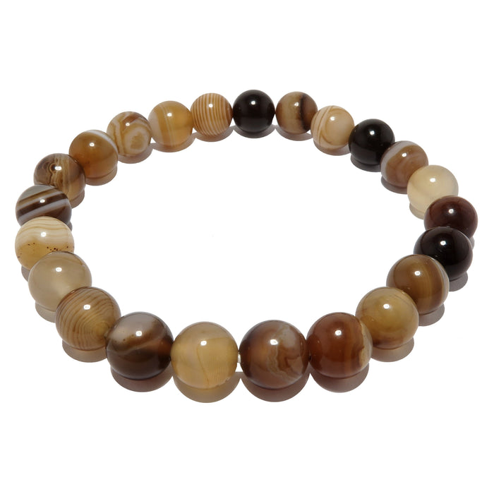 real banded sardonyx round gemstone stretch bracelet