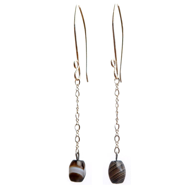 "Sardonyx Earrings 3.2"" Boutique Banded Black White Stone Sterling Silver Long Chain B02"