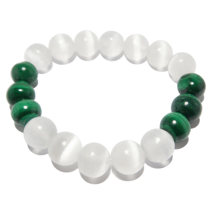 white selenite and green malachite round gemstone beaded stretch bracelet