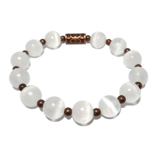 Selenite Bracelet White Radiant Round Gemstone Antique Copper Stretch