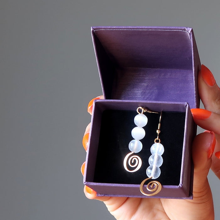 white selenite gold spiral dangle earrings in satin crystals gift box