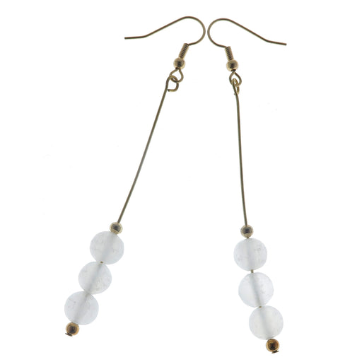 "Selenite Earrings 3.5"" Long Gold Dangle Radiant White Gemstone"