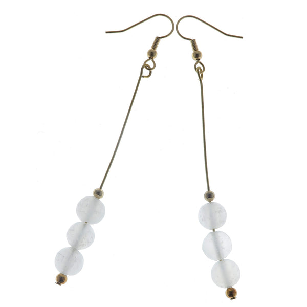 "Selenite Earrings 3.5"" Long Gold Dangle White Shiny Gemstone Designer Beaded Radiant B02"