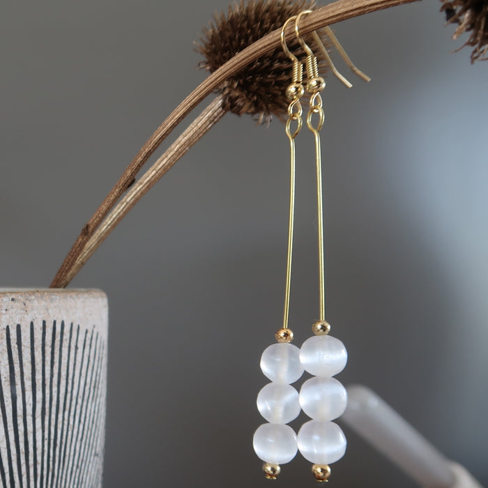 Selenite Earrings Long Gold Dangle Radiant White Glowing Gemstones