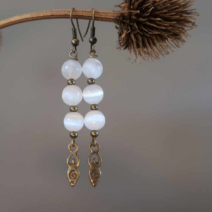 Selenite Earrings Goddess Gemstone White Radiant Antiqued Steel Crystal