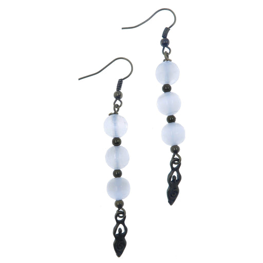 round beaded white selenite with goddess charm dangling antiqued brass earrings