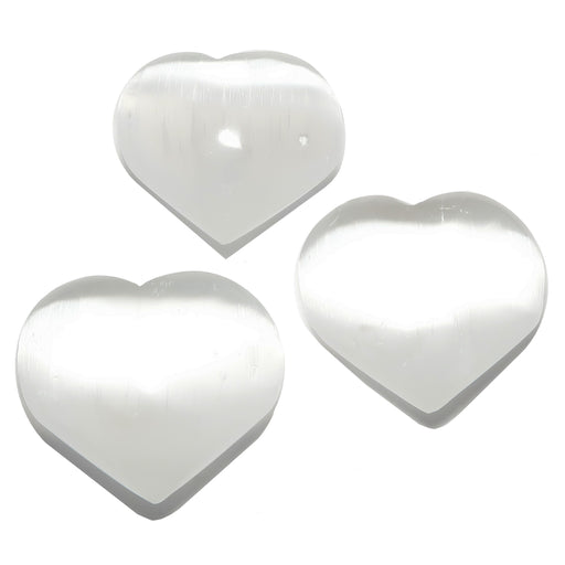 set of three white selenite hearts
