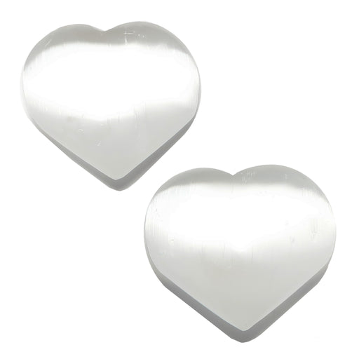 white selenite heart pair