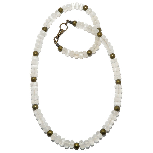 white selenite beads and antique brass beaded necklace