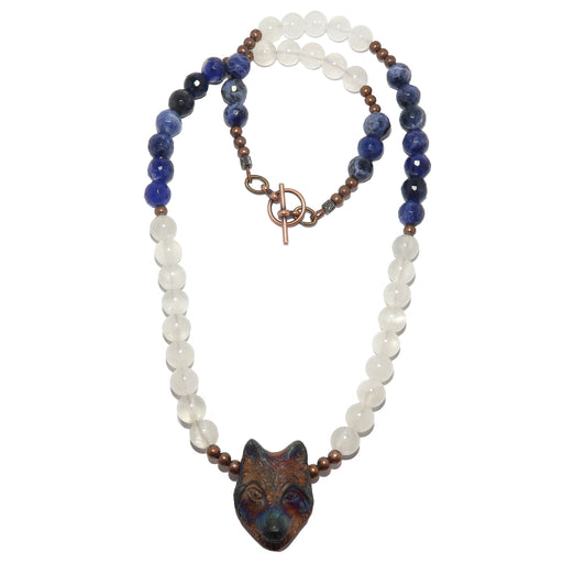 Selenite Wolf Necklace Radiant Animal White Blue Sodalite Beaded Stones