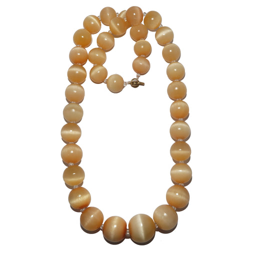 orange selenite beaded necklace