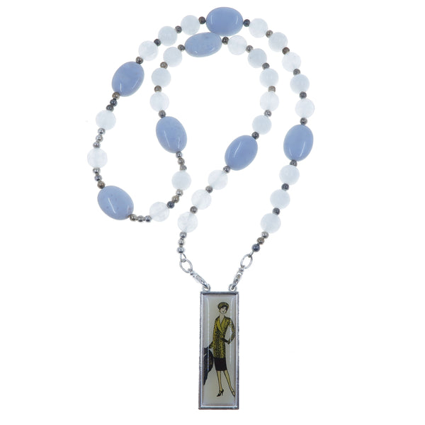 "Selenite White Necklace 23"" Specialty One-of-Kind Blue Calcite Beaded Gemstone Fancy Lady S03"
