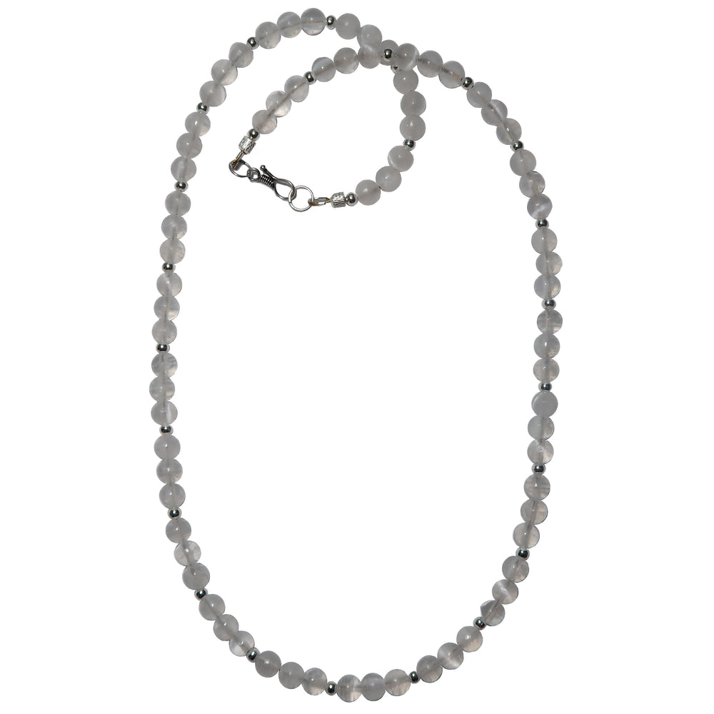 white selenite beaded necklace with silver beads