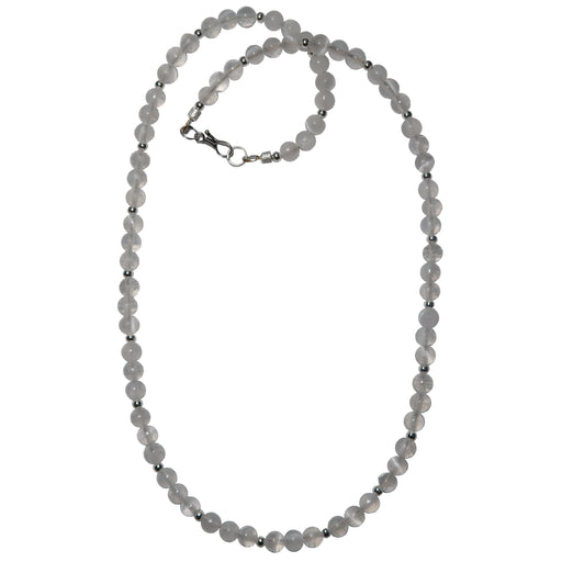Selenite Necklace 5mm White Round Rare Radiant Gemstone Silver Beaded Crystal B02